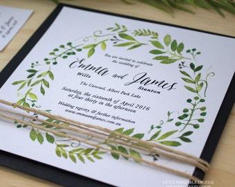 Printable Wedding Invitation,  DIY Printable, Watercolour Spring Green Wreath - Invitation Only