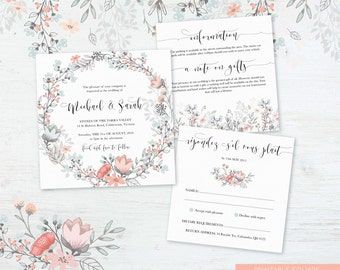 Printable Wedding Invitation, DIY Printable, Watercolour Vintage Wedding - Invitation Suite