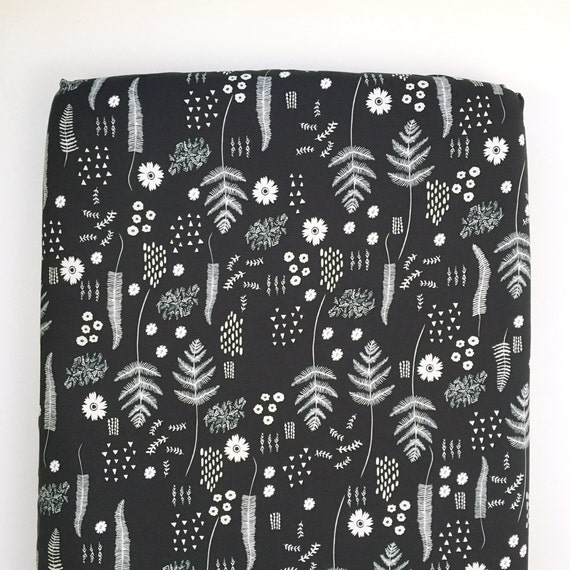Crib Sheet >> Black and White Fern Book in Black >> Fitted Crib Sheet >> Baby Toddler Bedding >> ready-to-ship