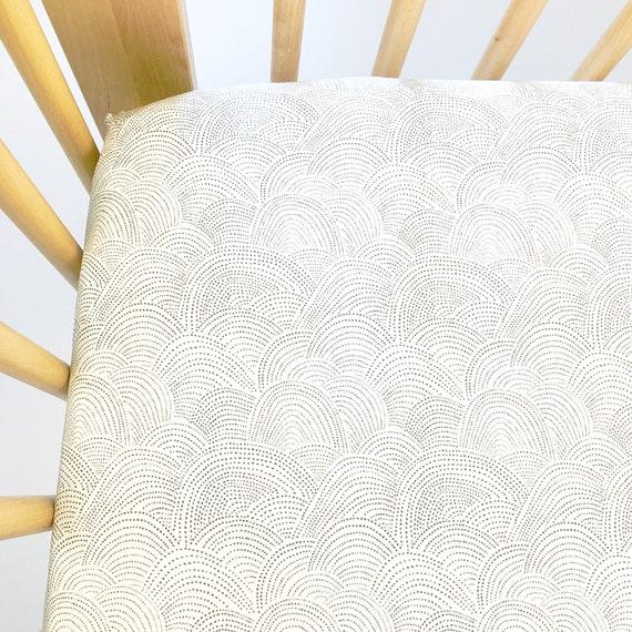 Crib Sheet >> Shadowbox Scallop Dot in White >> MADE-to-ORDER grey baby bedding, toddler sheet set, neutral bassinet sheet, mini crib sheet