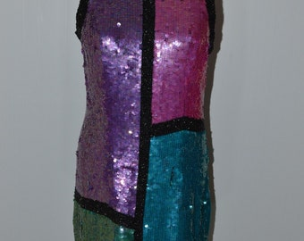 Vintage Stenay Silk Sequin Evening Gown Dress Purple Pink Green Size 8 GoGo