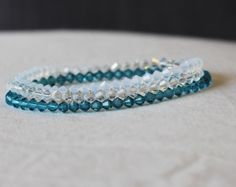 Swarovski Bracelet - Crystal Bracelets - Crystal Jewelry - Gift for Her - Bridesmaid Gift - Bridal Jewelry - Something Blue - Crystal Clear
