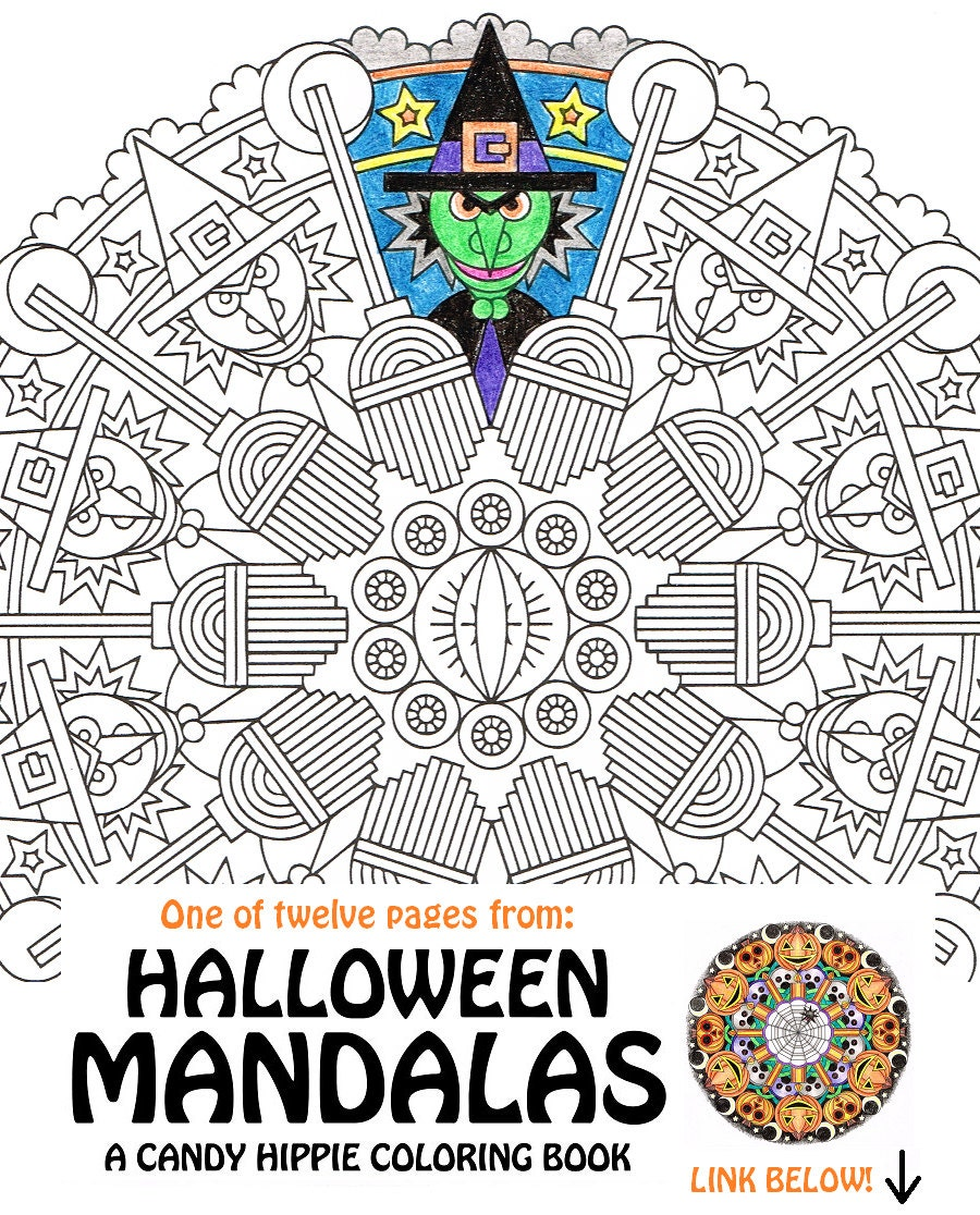 halloween mandala coloring page eye of newt printable