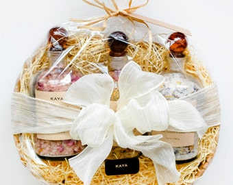 Large Gift Set - Bath Salts Apothecary Bottles | 100% Natural | Spa & Relaxation | Rose Lavender | Gift for BOSS | Christmas | Thanksgiving