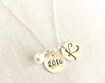 Graduation Necklace, Graduation Gift, Personalized Necklace, Year and Initial, Student Gift, Memorable Necklace, High School, College Gift