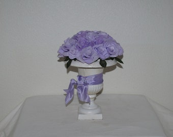 Paper Roses, Paper Rose Display, Roses in Vintage Cast Iron Vase, Lavender Rose Bouquet, Coffee Filter Roses, Birthday Gift, Get Well Gift