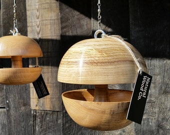 "Oak ""Applecore"" Bird feeder - PAIRED SET - Medium + Small"
