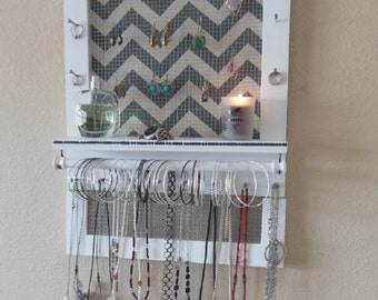 Pick Your Color, Jewelry Organizer With Stud Earring Holder, Wall Organizer, Necklace Holder, Earring Organizer