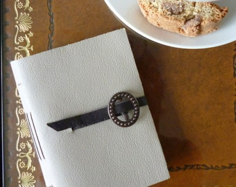 SALE! Grey leather pocket notebook, hand bound bullet journal, travel journal, A7, buckle fastening small blank book