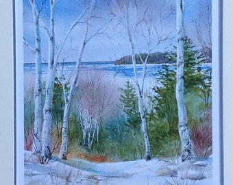 Birch tree painting, Giclee print, winter landscape painting, birch tree painting, matted to fit 16x20 frame.