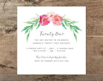 Twenty first birthday invitation, printable invitation, floral, bohemian, watercolour, rustic, 21st invitation