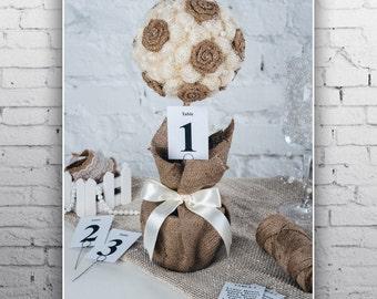 winter wedding card holder Fall wedding centerpieces Burlap ivory fall wedding centerpiece Flower ball stand
