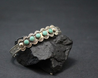 Vintage Sterling Silver Native American Old Pawn Turquoise Cuff Bracelet with Arrows and Eagle Designs