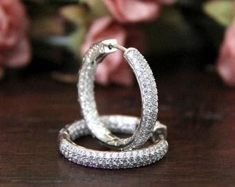 2.90 ct. tw Easy Lock Art Deco Hoop Earrings-Brilliant Diamonds Outside W/ Inside-Dazzling Earrings-Secure Lock-Solid Sterling Silver [7968]