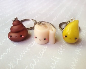 BFF Poop, Pee and Toilet paper keychains, poop and paper, best friend necklace, friendship keychain, friendship necklace, bff necklace