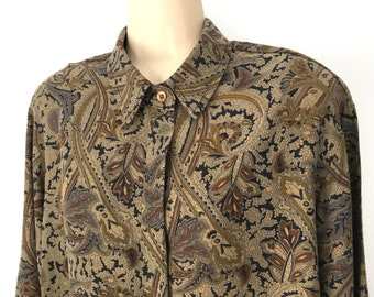 Vintage 90's Minimalist Rayon Blouse, Taupe Paisley, Made in USA, Size XL