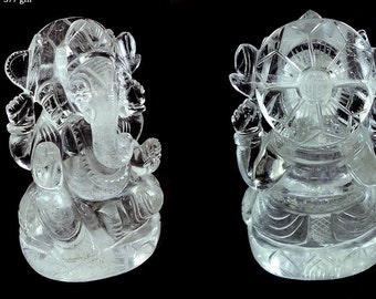 Lord Ganesh Statue Gift Lord Ganesh Idol, Natural Crystal Quartz Hindu Lord Ganesha Sculpture Spiritual 214gm