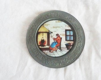 Antique Pewter Plate Dish,Old German pewter plate, Decorative plate,Plate with Ceramic Print of Sitting Woman to Wireplace,Collectible