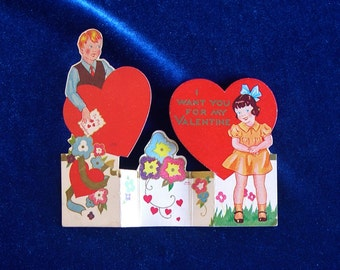 Cute 1950's Children's Valentine Stand-up Card