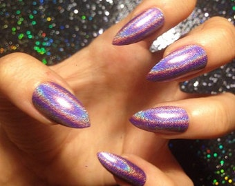 Violet Holo Nails -CHOOSE YOUR SHAPE- Set of 20 - purple nails, holographic nails, stiletto nails, oval nails, square nails, fake nails