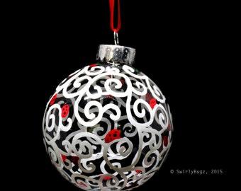 Glass Hand Doodled Ornament, ladybugs