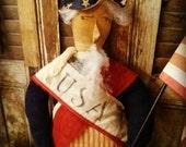 Primitive Uncle Sam doll Folk art Americana USA Patriotic Faap Haha Hafair