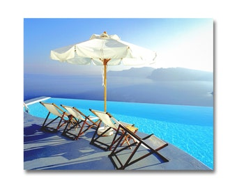 Santorini Greek Island Photo/ Beach Chairs / Pool Ocean View/ Large Beach Photography/ Island Sunset Photography/Canvas Art/ Pool PictureArt