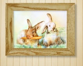 Giclee 8x10in, А5, А4, Watercolor PRINT,  funny rabbits , Art Print,Watercolor PRINT