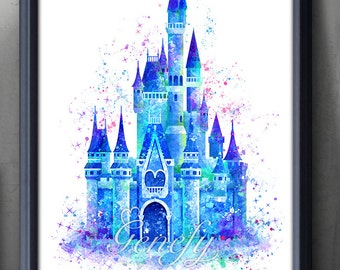 Disney Cinderella Castle Watercolor Poster Print - Wall Decor - Watercolor Painting - Watercolor Art - Kids Decor- Nursery Decor[2]