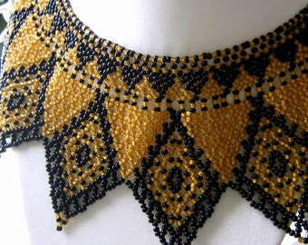 Seed bead Black and Gold Collar