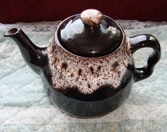 Royal Canadian Art Pottery - Royal Dripless Vintage Teapot - Dripped Brindle Glaze