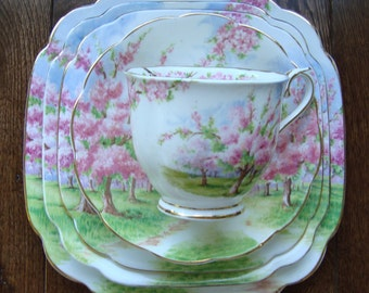 Blossom Time 5 Piece - Royal Albert Bone China England - Scenic - Trees with Pink Apple Blossoms - Starter/Replacement Pieces