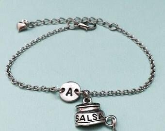 Salsa and chip charm bracelet, salsa and chip charm, food personalized bracelet, initial bracelet, monogram