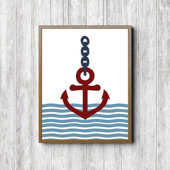 anchor printable wall decor nautical boys room nursery wall. Black Bedroom Furniture Sets. Home Design Ideas