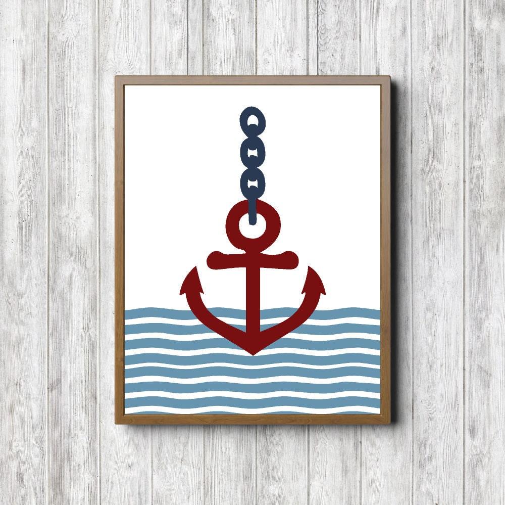 Anchor Printable Wall Decor Nautical Boys Room Nursery Wall
