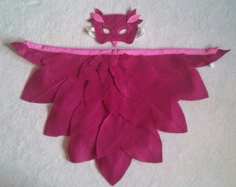 Wings and Mask: Magical Bird, Owl and Owlette. Available in different colours. Perfect  for Dress up, Halloween and as a Birthday gift