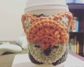 Crochet Coffee Cup Sleeve - Fox