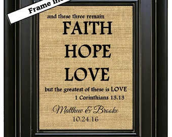 FRAMED Personalized Faith Hope Love Sign Wedding Gift Wedding Shower Gift Personalized Engagement Gift Personalized Bridal Shower Gifts