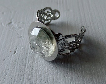 White Faux Gemstone Ring with Intricate Band