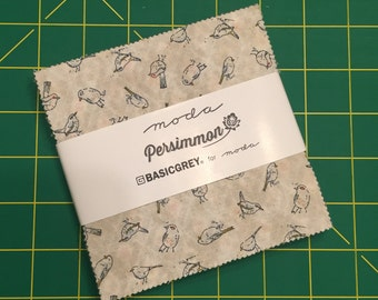 "PERSIMMON Charm Pack by BasicGrey for Moda Fabrics ~ 42 Cotton 5""x5"" PreCut Quilting Squares"