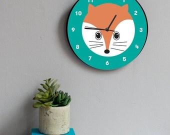 Fox Wall Clock - childrens clock - wall clock - nursery decor - children birthday - playroom - kids clock - gift for children