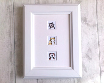 Cat print, cat and kitten picture, unframed 7 x 5 mount, cat lover gift