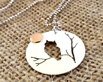 Gift for Students. Owl and Moon Necklace. Silver Owl. Owl Jewelry. Wisdom and Education. Silver and Copper Mixed Metals. Graduation Gift.