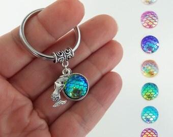 Mermaid keychain, mermaid gifts, mermaid tail, mermaid scales, little mermaid, custom key chain, keyring,  party favors, stocking stuffer