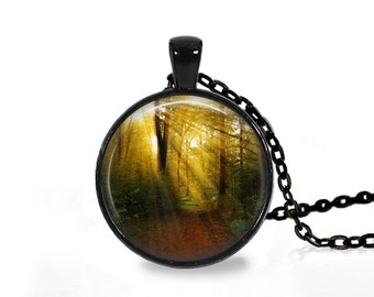 Nature pendant Forest Scenery necklace Woods jewelry