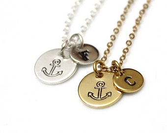 Personalized Hand Stamped Initial Anchor Necklace, Nautical Necklace, Anchor Pendant, Anchor Jewelry, Disc Necklace, Bridesmaid Gifts