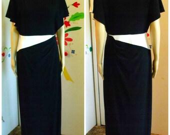 90's Ralph Lauren Evening Gown/Size 10/Formal Dress/Heavy Slinky Black And White Jersey/Floor Length/Designer Maxi Dress/1990's