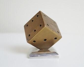 Dice Sculpture Brass Dice on Foot Dice Art Metal Dice