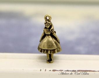 Alice, Alice Charm, Antique Bronze Alice Charm, Mini Alice Charm, Alice in Wonderland Charm, Made in Japan