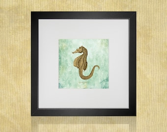 "Seahorse Art Print For Instant Download 8 1/2"" x 11"" Paper Print Is 8"" x 8"" Square Nautical Ocean Art Print Beach Decor"